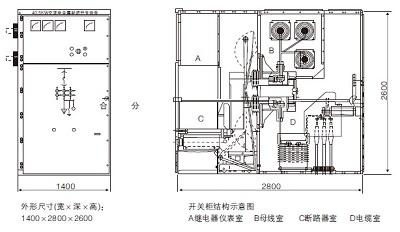 KYN61-40.5铠装移开式交流金属封闭开关柜尺寸图